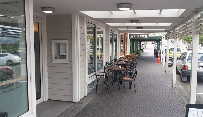 outside seating area and cafe entrance