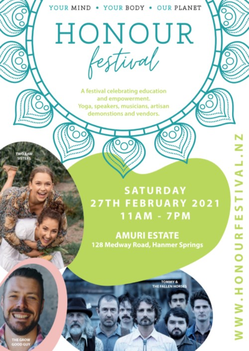 honour festival poster featuring 3 photos of people and information in green shape