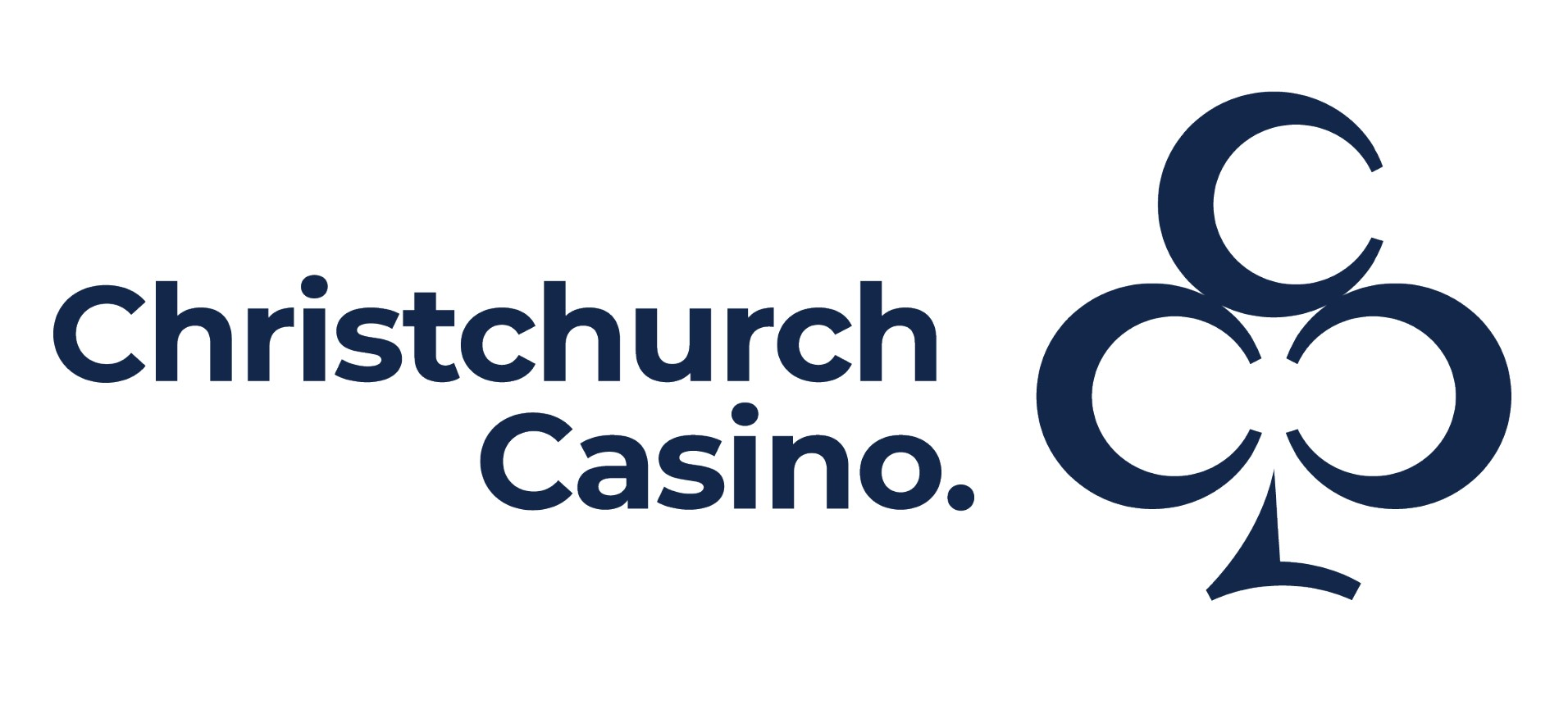 blue text christchurch casino outline of clubs symbol all on white background