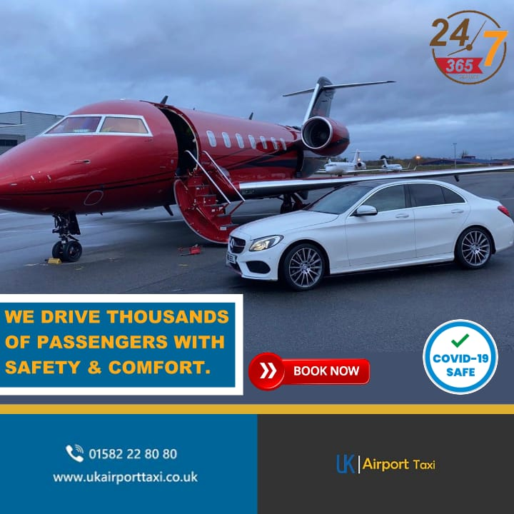 we drive thousands of customers with safety and comfort featuring red plane and white car