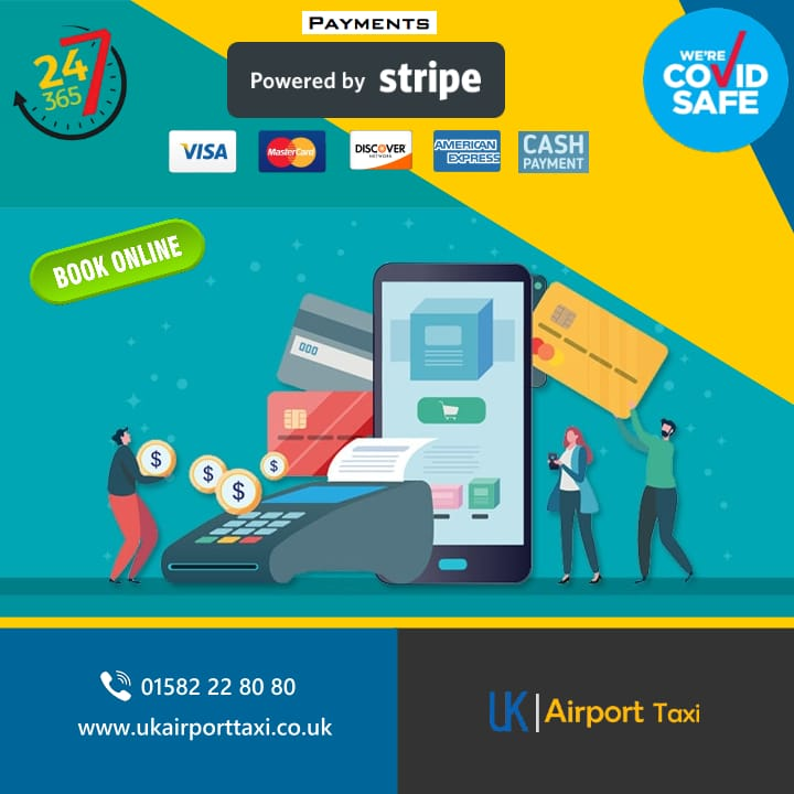 payments powered by stripe featuring large card read and large mobile phone held up by people