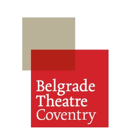 belgrade theatre coventry logo on red and grey squares