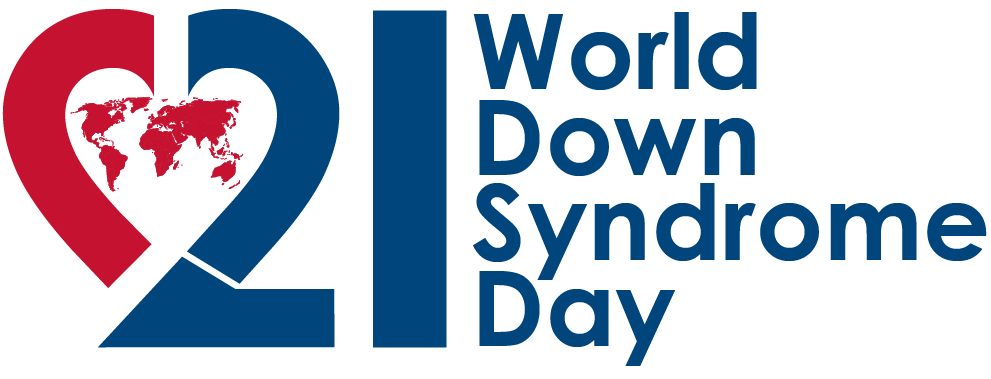 blue text 21 world down syndrome day featuring map of world