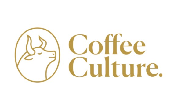 in light brown text coffee culture image of outline of bull