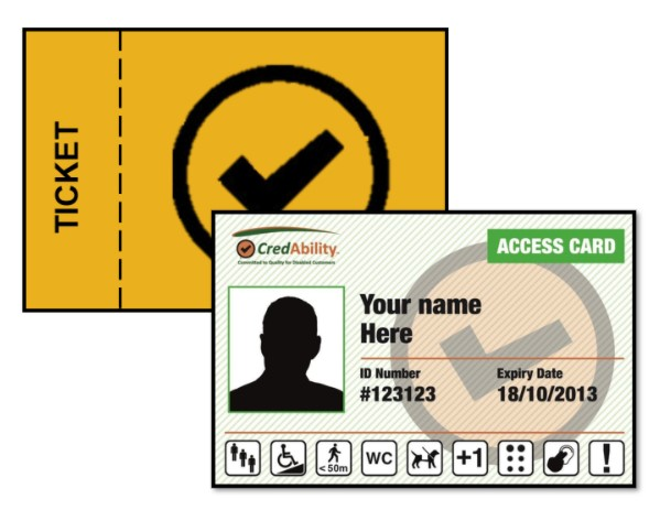 access card with orange rectangle with black tick in a circle outline the word ticket in black text
