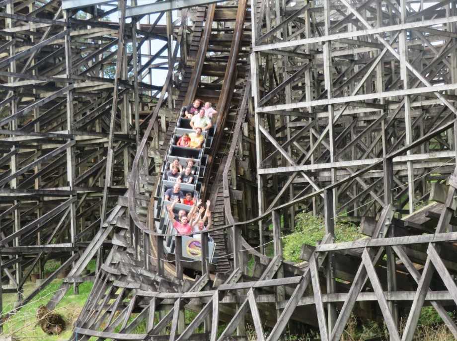 people on large rollercoaster
