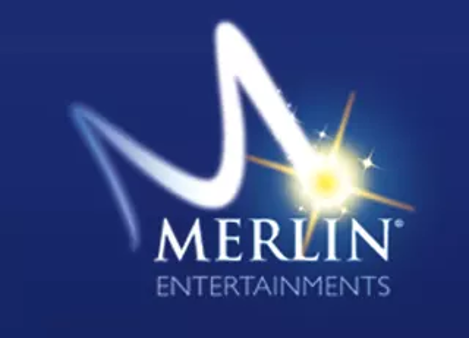 M Merlin Entertainments in white text dark blue background
